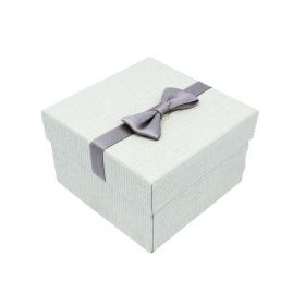 Gift box / bow and pillow / 9x9x6cm / light grey / 1pcs