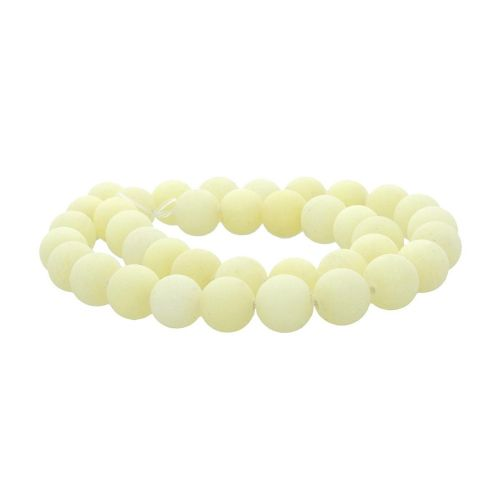 Agate / matte finish / round / 10mm / pastel yellow / 36pcs