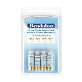 Beadalon Gold Plated Crimp Bead Variety Pack (4 Sizes)