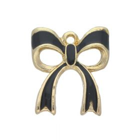 SweetCharm™ Bow / charms pendant / with cubic zirconia / 20x17x3mm / gold plated / black / 2pcs