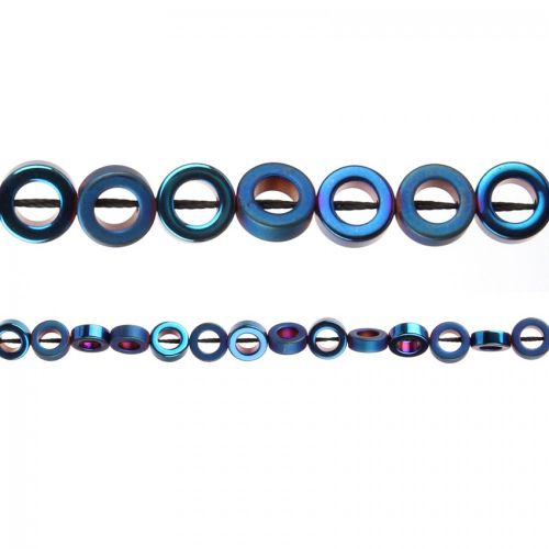 """X"" Blue Hematite Matt/Shiny Ring Beads 8mm 40cm Strand"