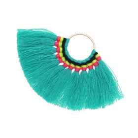 Fan tassel / viscose thread / round base / 55mm / turquoise / 1pcs