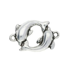 Dolphins / connector / 21x14x3mm / silver / 4pcs