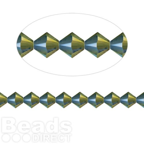 5328 Swarovski Crystal Bicones Xillion 6mm Crystal Iridescent Green Pk24