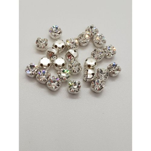 Crystal Chaton Montees 5x5mm / 4mm deep / 1mm hole / Clear Pk24