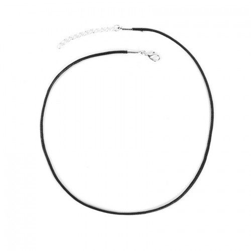 """Black Cord Necklace with Lobster Clasp & Extension Chain Long 46cm (18"""") Pk1"""