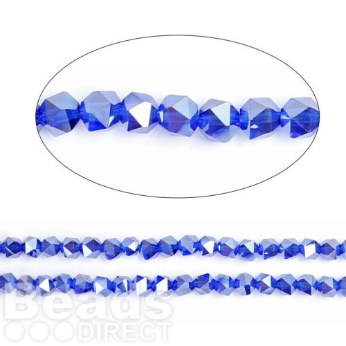 """Cobalt AB Essential Crystal 6mm Faceted Hexagon Beads 20"""" Strand"""