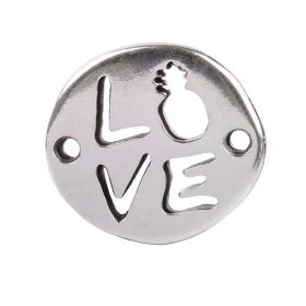 Antique Silver Zamak Love/Pineapple Connector Charm 18x20mm Pk1