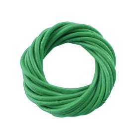 Leather cord / natural / round / 2mm / green / 2m