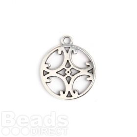 Antique Silver Zamak Fancy Cross Coin Charm 22mm Pk1