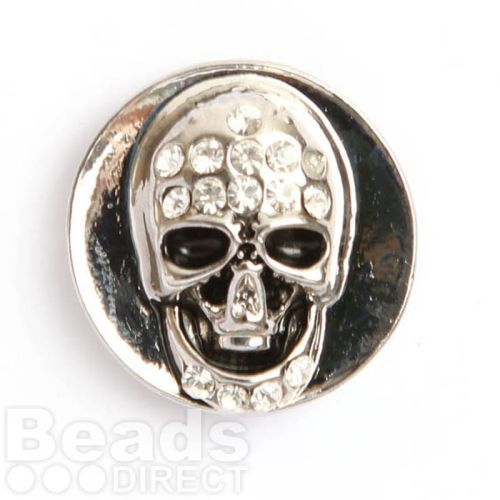 Silver Plated Snap On Disk Crystal Skull 20mm Pk1