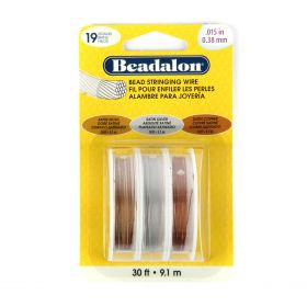 "Beadalon 19 Strand Jewellery Wire 0.015"" 0.38mm Assorted Satin Pk3"
