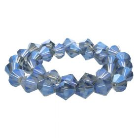 CrystaLove™ crystals / glass / bicone / 10mm / grey-blue / lustered / transparent / 32pcs