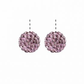 Lilac Premium Shamballa Fashion Half Drilled 6mm Round Beads Pk2