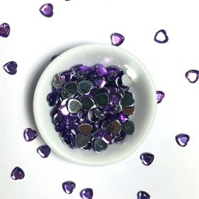 Acrylic / flat back / faceted / heart / embellishment / purple / 6x5x1mm / ~9g