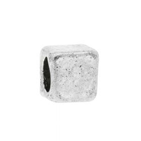 Cube / spacer / 3.5x3.5x3.5mm / silver / 2.5mm hole / 20pcs