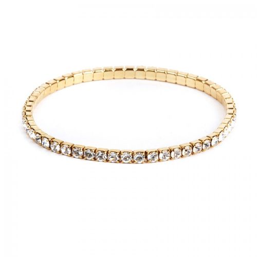 37E04 Swarovski Crystal Clear Gold Plated Stretch Bracelet 18cm Pk1