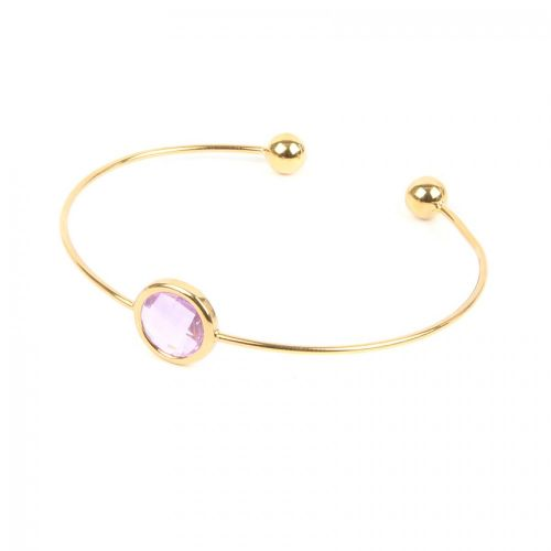 Ready to Wear Gold Plated Small Bangle with Translucent Pink Glass Crystal