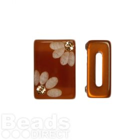 Topaz Flower Polaris Rectangle Bead with Swarovski Crystals 6x10x15mm Pk1
