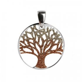 Sterling Silver 925 Golden Glitter Tree of Life 25mm Pk1