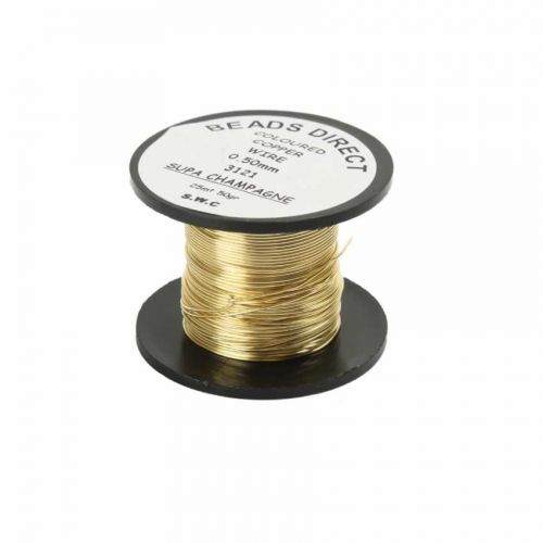 X Supa Champagne Copper Beading Wire 0.5mm 25metres