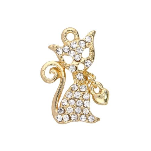 Glamm ™ Cat / charm pendant / with zircons / 20x12x3mm / gold plated / Crystal / 1pcs