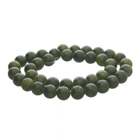 Jade / round / 6mm / olive green / 68pcs