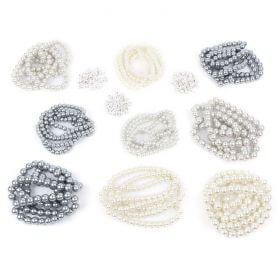 Beads Direct Silver and White Pearl and Crystal Spacer Bundle - 9 Strands + 100 Spacers