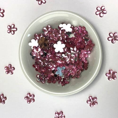 Acrylic / flat back / flower / embellishment / pink / 9x1mm / ~7g