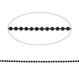 Black Diamond Cut Ball Chain 2mm with x10 Clasps 1metres