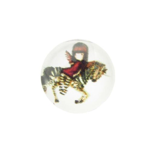 Glass cabochon with graphics 12mm PT1513 / orange and white / 4pcs