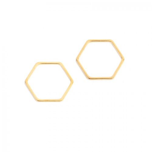Gold Plated Hexagon Soldered Ring 19x21mm Pk2
