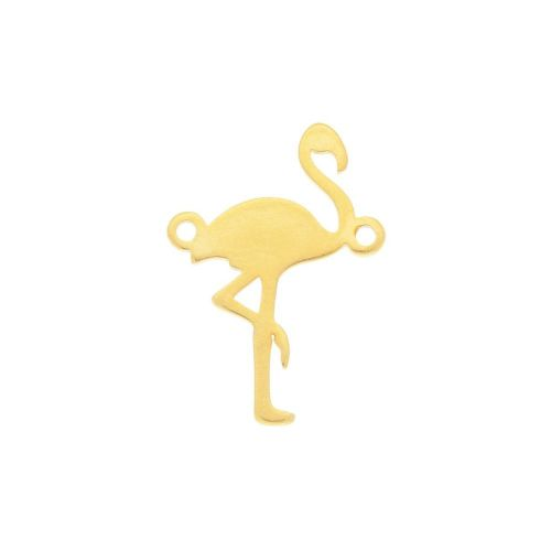 Flamingo / connector / surgical steel / 20x15x1.5mm / gold / 1pcs