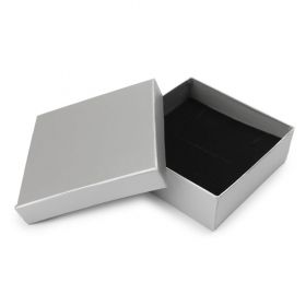 Matte Silver Square Jewellery Box 9x9x3cm with Foam Pad Pk1