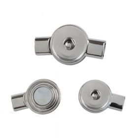 Silver Tone Round Snap On Magnetic Clasp 6x23x41mm Pk1