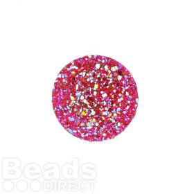 Fuchsia AB Sparkly Resin Round Flat Back Cabochons 25x25mm Pk5