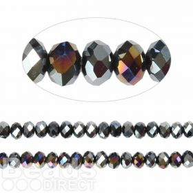Essential Crystal Faceted 4mm Rondelle Jet AB 150pack
