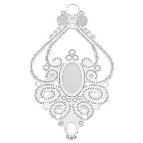 Rhombus / pendant filigree / surgical steel / 44x25mm / silver / 1pcs