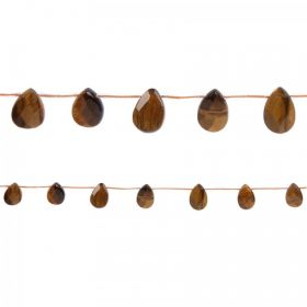 "Tiger Eye Side Drilled Faceted Pear Beads 10x14mm 15"" Strand"