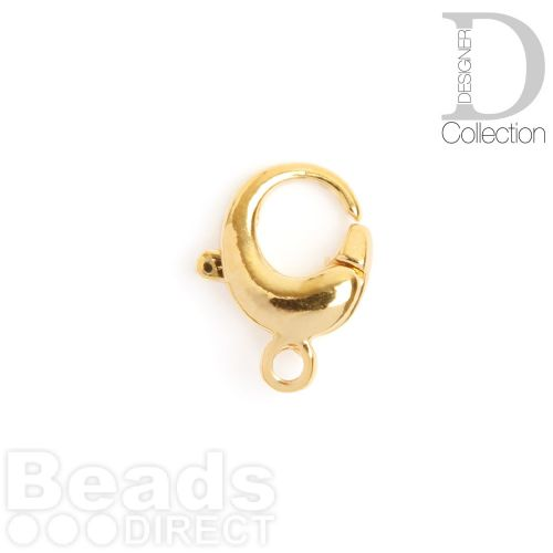 Gold Plated Brass Round Lobster Clasp 13mm Pk1