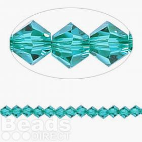 5328 Swarovski Crystal Bicones Xillion 4mm Blue Zircon Pk24