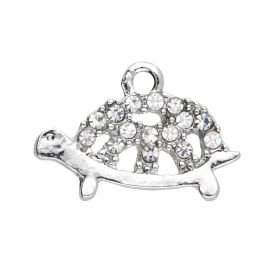 Glamm ™ Turtle / charm pendant / with zircons / 13x18x2mm / silver plated / 2pcs