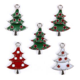 Assorted Colour Enamel Xmas Tree Charms 18x26mm Pk5