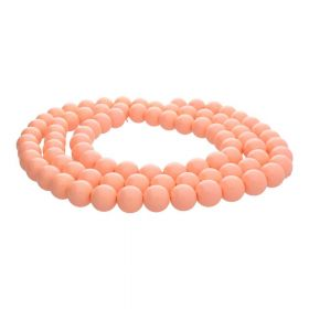 Milly™ / satin round / 12mm / apricot / 70pcs