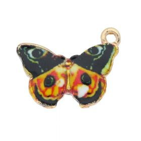 SweetCharm ™ Butterfly / pendant charms / 15x20x2mm / gold plated / multi colour / 2pcs