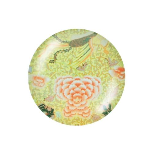 Glass cabochon with graphics K14 PT1354 / green / 14mm / 4pcs