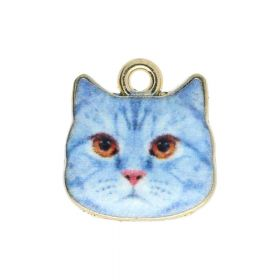 SweetCharm ™ Cat / pendant charms / 13x13x2.5mm / gold plated / blue / 2pcs