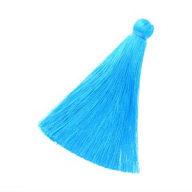 Tassel / viscose thread / 70mm / width 10mm / bright blue / 1pcs