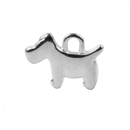 X Antique Silver Zamak Dog Charm 12x16mm Pk1