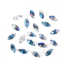 Blue 1/2 Coat Crystal Glass Faceted Drop Beads 6x12mm Pk20